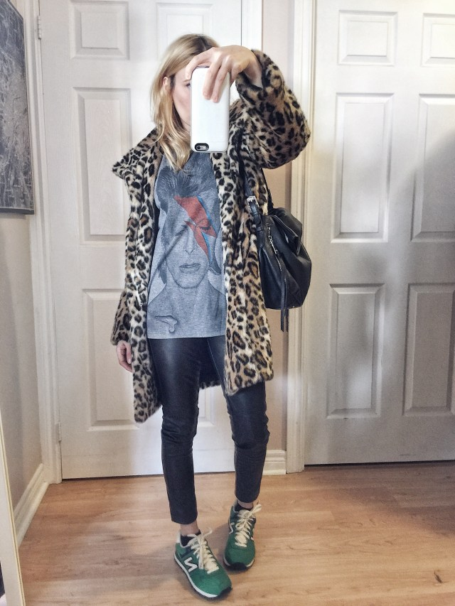 Bowie Tee | animal Print Faux fur jacket | Leather pants | new Balance 525 |