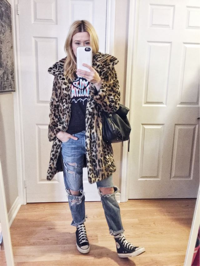 Animal print coat, custom tee, boyfriend jeans, converse #livelovesara a little style overhaul
