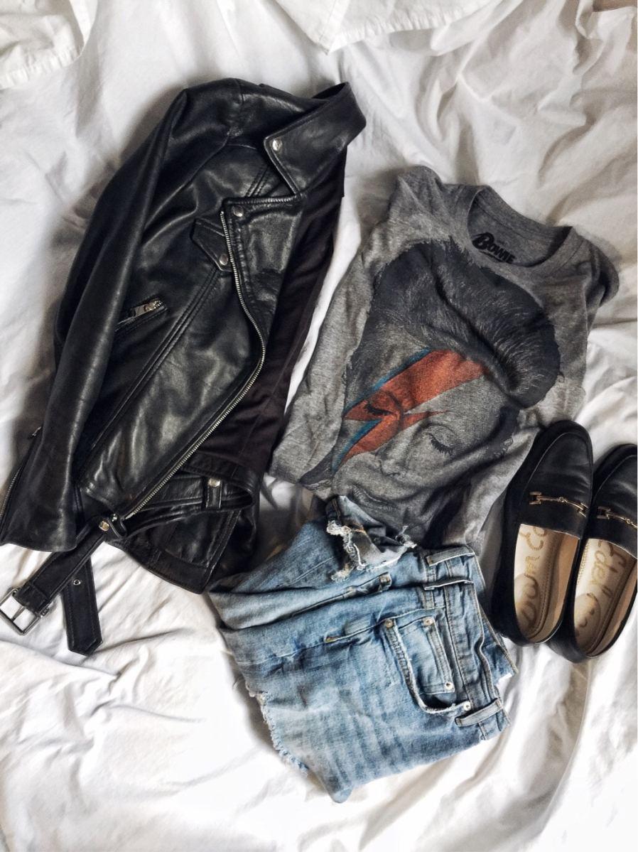 Bowie t-shirt | Ziggy Stardust | leather jacket | Gucci Dupes | livelovesara