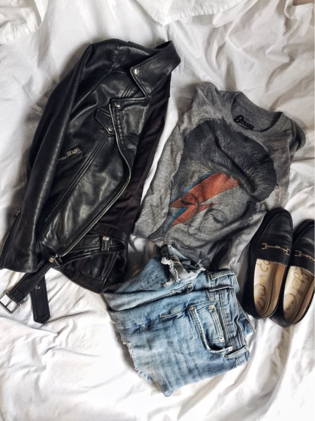 Bowie t-shirt | Ziggy Stardust | leather jacket | Gucci Dupes |  livelovesara