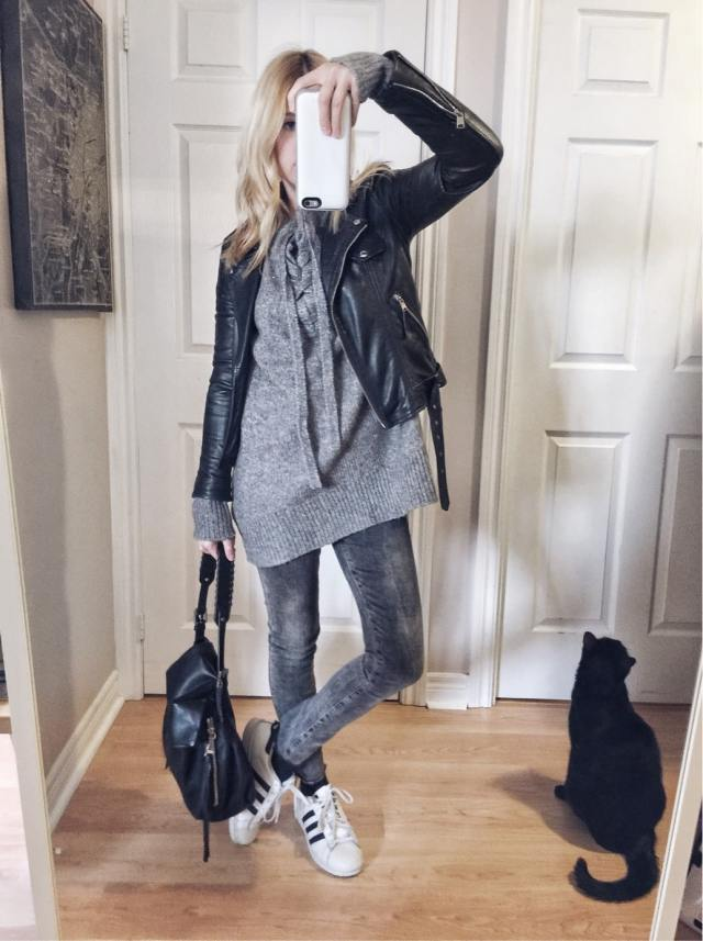 Oversized sweater | Leather jacket | grey jeans | Adidas | what I wore | livelovesara