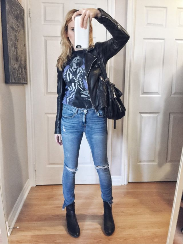 Beetlejuice t-shirt, high waist jeans, sock boots, leather jacket