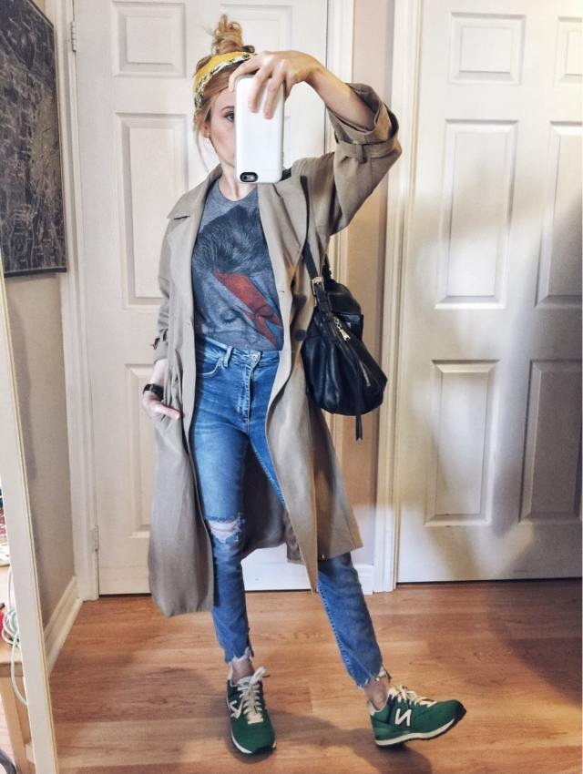 bowie t-shirt, trench coat, high waist jeans, new balance