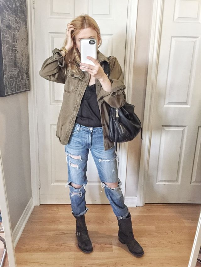 Camisole | Miltay jacket | Distressed jeans | Frye Engineer Boots
