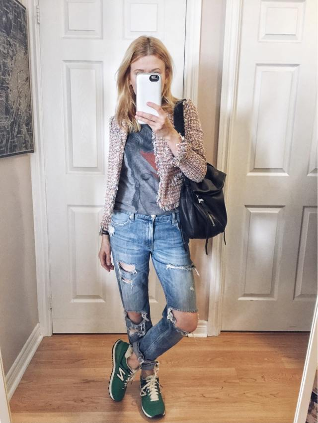 David Bowie T-shirt | Tweed Jacket | Distressed Jeans | Green Shoes