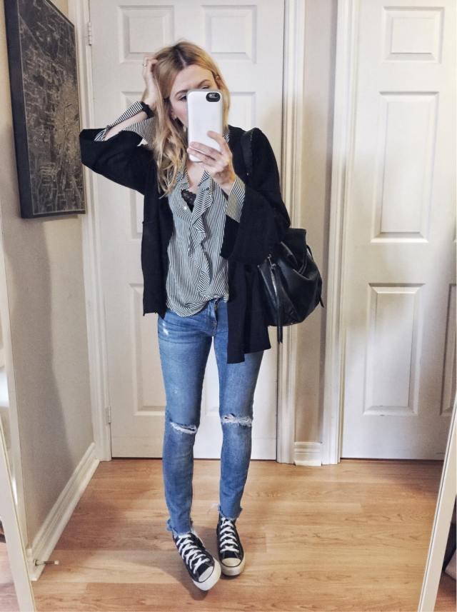 Striped Blouse | Kimono Cardigan | Jeans | Converse