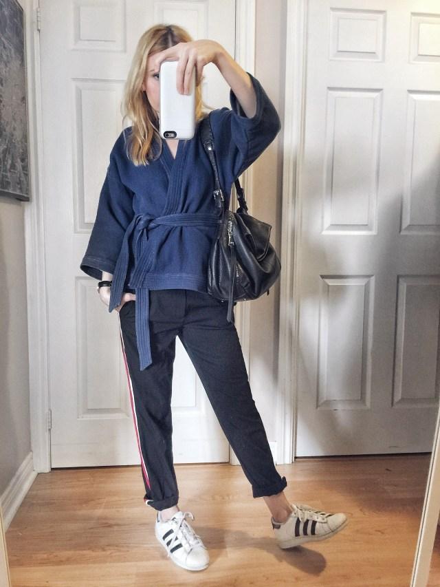 kimono wrap shirt | side striped pants | Adidas superstars