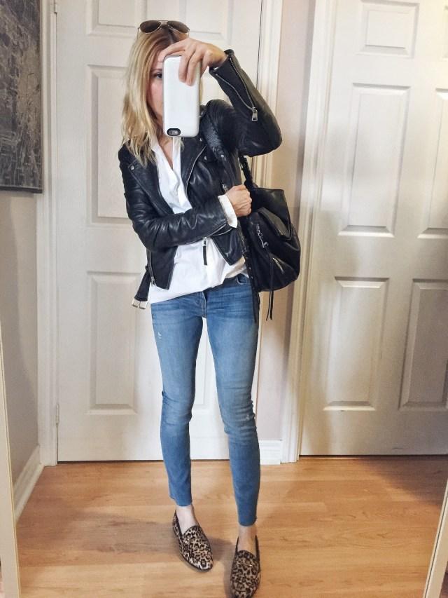 White Blouse | Leather Jacket | Blue denim skinnies | Sam Edelman Loraine Loafer | Rayban aviators