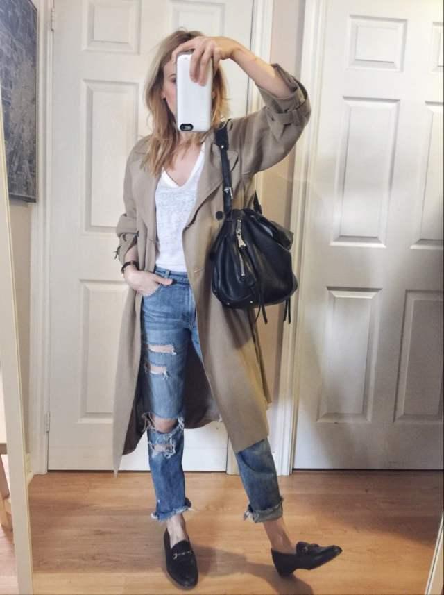 White linen t-shirt   boyfriend jeans   Trench Coat   loafers