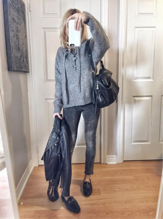 Grey lace front sweater | Grey jeans | Leather jacket | sam Edelman loraine loafers |