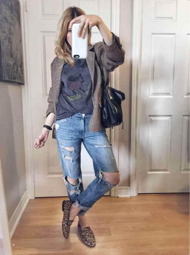 Mickey Mouse T-shirt | Oversized Blazer | boyfriend jeans | Sam Edelman Loraine Loafer