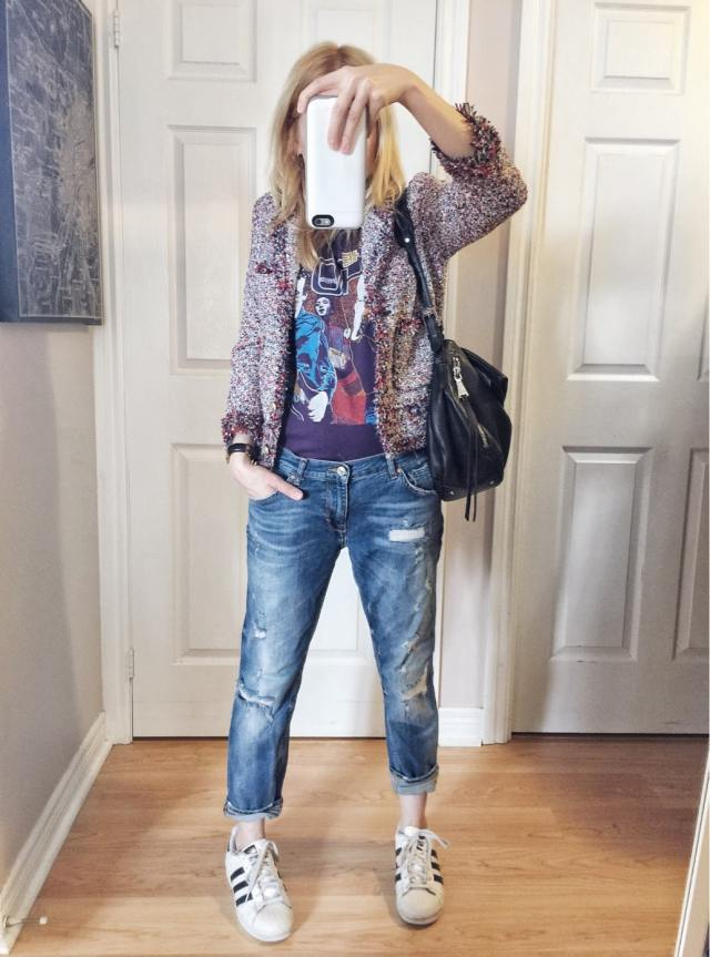 I'm wearing a cropped tweed jacket | A vintage The Who Raglan | Distressed boyfriend jeans, and Adidas