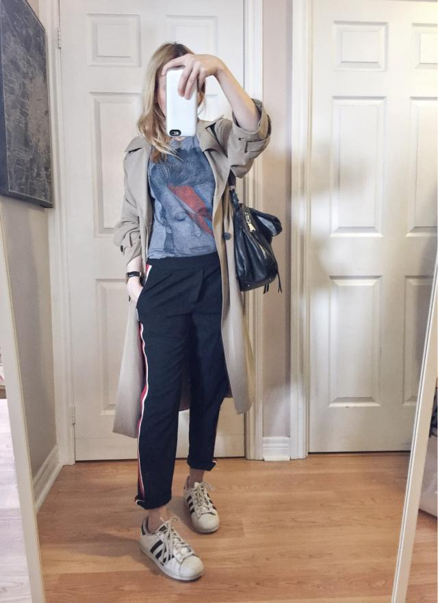 I'm wearing a David Bowie Tee | side striped trousers | a long trench | and adidas superstars