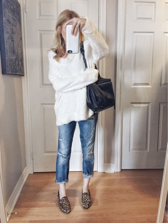 I am wearing an oversized fuzzy sweater | boyfriend jeans | and Sam Edelman Loraine animal print loafers