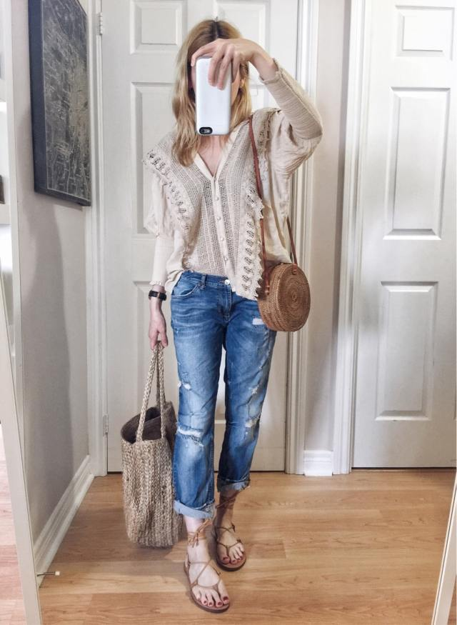 I am wearing a crochet front blouse, boyfriend jeans, made well boardwalk sandals, and two circle purses