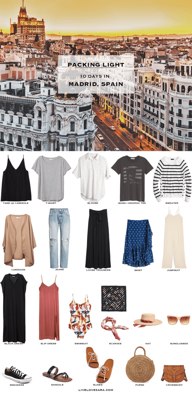 If you are wondering what to pack for a 10 Day Madrid, Spain vacation, you can see some ideas here. What to Pack for Madrid Packing Light List | What to pack for Spain l | What to Pack for summer | Packing Light | Packing List | Travel Light | Travel Wardrobe | Travel Capsule | Capsule |