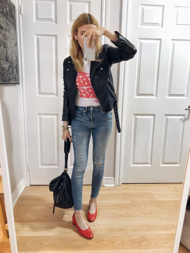What I Wore. A Rebel Rebel Bowie t-shirt, black leather jacket, super skinny jeans, and red Everlane Day Heels.