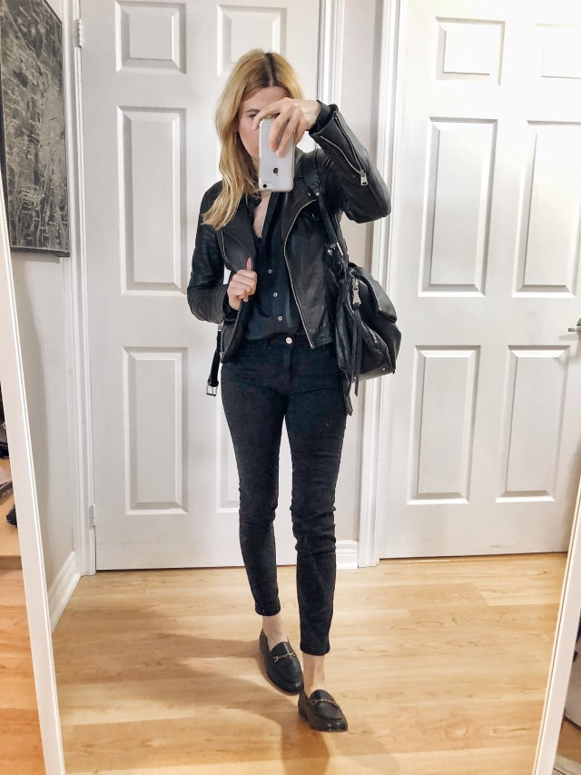 What I wore. I am wearing an black silk blouse, black pants, a leather moto, and Sam Edelman Loafers.