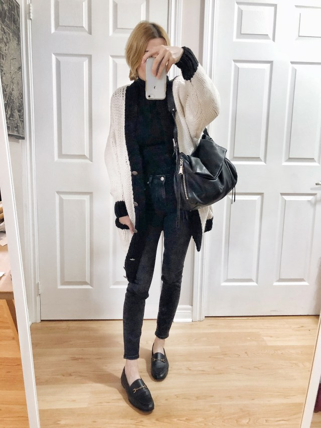 What I Wore. I am wearing a black turtleneck, oversized cardigan, black skinnies, and black loafers.