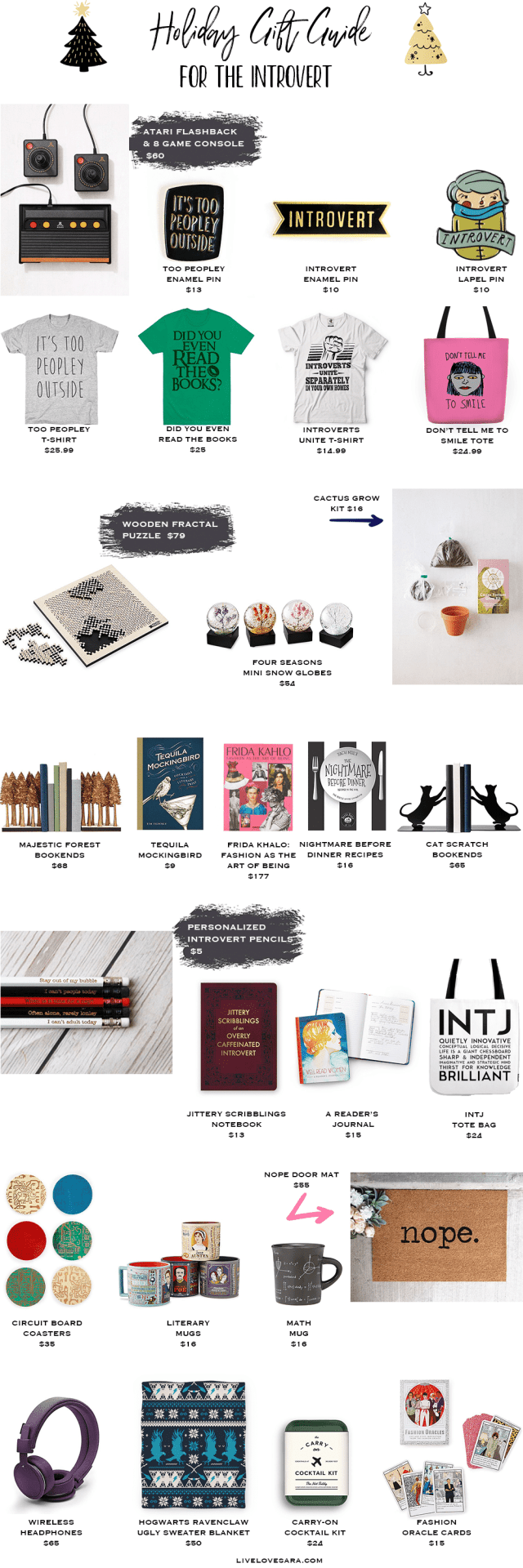 Holiday Gift Guide for the Introvert. #giftguide #giftideas #christmashopping #christmasgiftguide #introvert #introvertsunite #holidaygiftguide #christmas #livelovesara