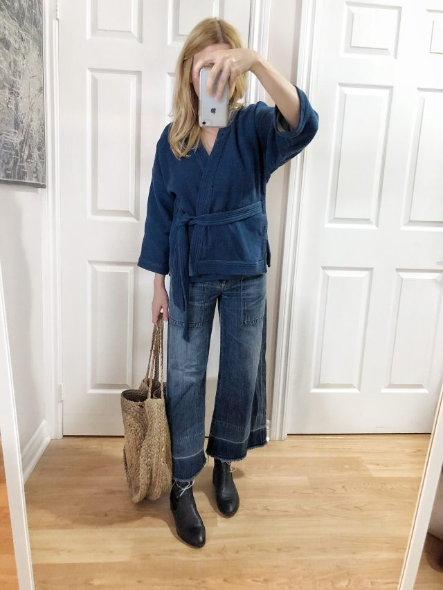 What I Wore. I am wearing a blue kimono top, wide leg jeans, booties, and a woven circle purse. via livelovesara.com #livelovesara