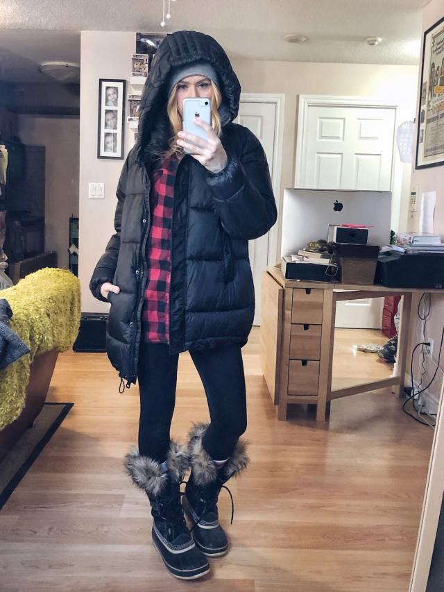 What I Wore. I am wearing an oversized plaid shirt, fur lined leggings, a puffer coat, and Sorel Joan of Arctic boots.