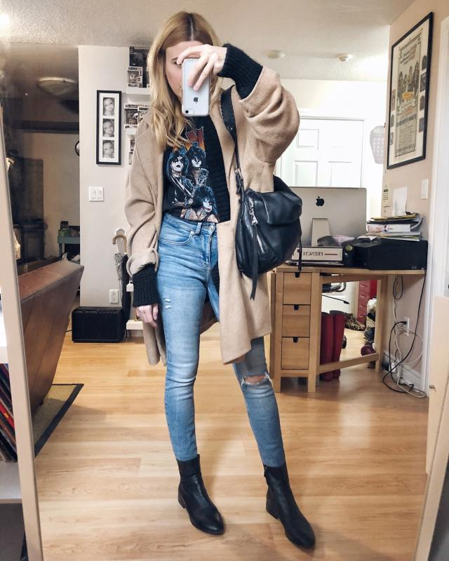 What I Wore. I am wearing a vintage Kiss t-shirt, skinny jeans, an oversized black cardigan, menswear camel coat, and boots.