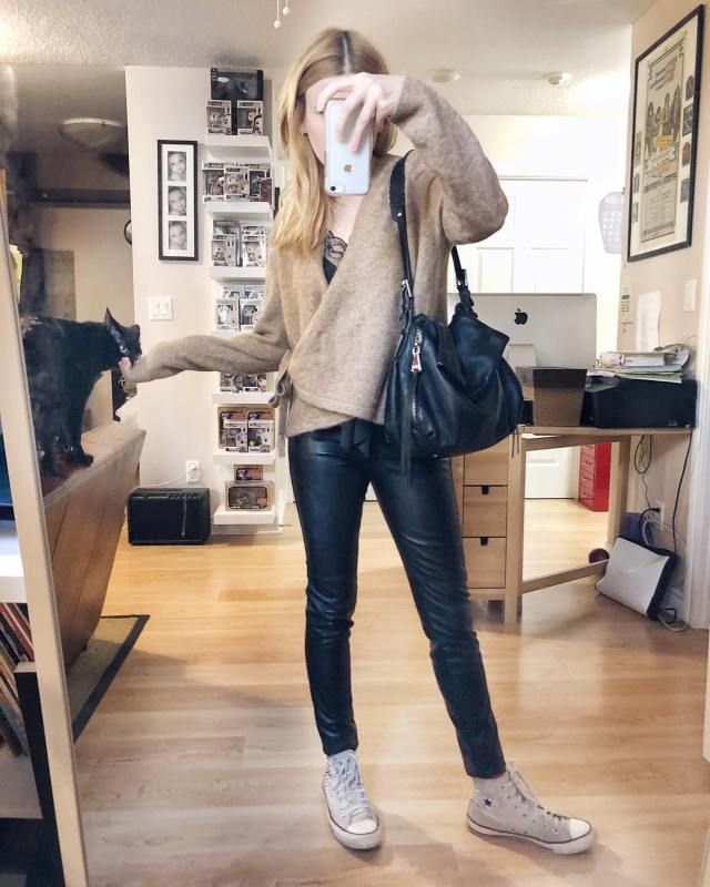 What I Wore. I am wearing a black camisole, a camel wrap cardigan, faux leather pants, and off-white Converse.