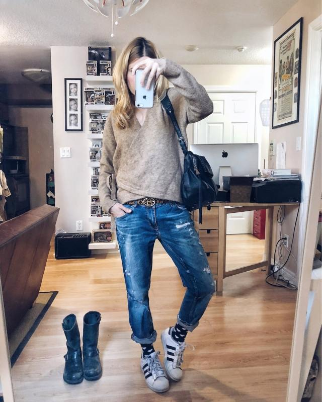 What I Wore. I am a brown wrap sweater, boyfriend jeans, and Adidas. via livelovesara