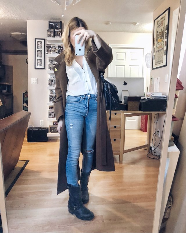 What I Wore. I am wearing A long wool coat, white blouse, skinny . jeans, and Frye Engineer Boots #livelovesara