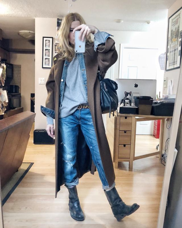 What I Wore. I am wearing a grey cashmere sweater, girlfriend jeans, Frye Engineer boots, and a denim jacket layered under a wool jacket.