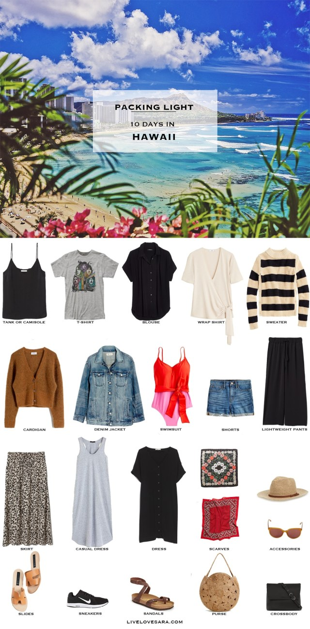 Are you wondering what to pack for Hawaii? I have a sample of a Hawaii packing list to help you on your way. Head over to my post for what to pack and outfit ideas. Hawaii Packing List | What to pack for Hawaii | #worldtravel #beachvacation #packinglight Packing Light | beach vacation | Travel Light | Travel Wardrobe | Travel Capsule | Capsule | Pack for vacation #travellight #packinglight #travelcapsule #capsulewardrobe #capsule
