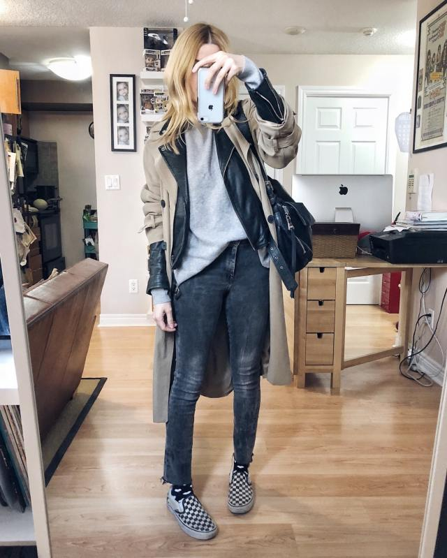 What I Wore. I am wearing a grey cashmere sweater, grey skinnies, classic Vans slip-ons, and a leather moto layered under a trench coat.