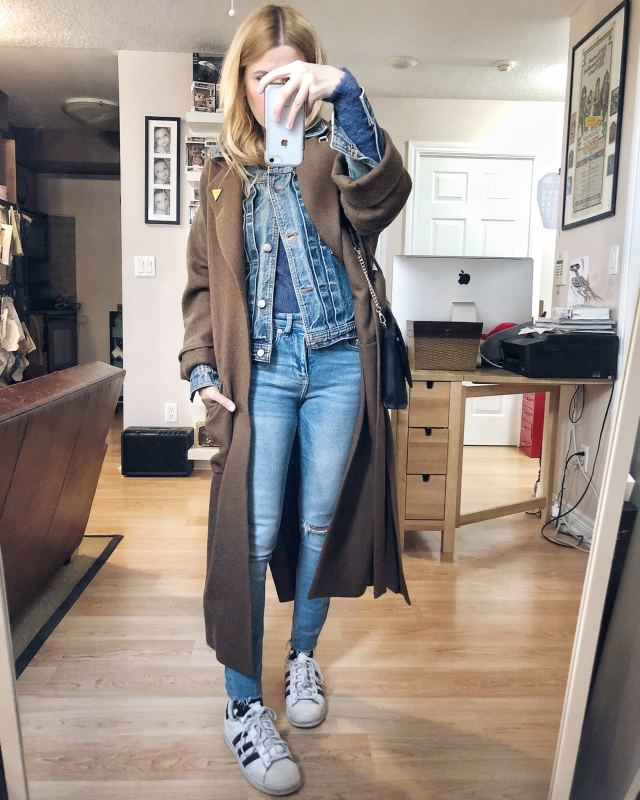 What I wore. I am wearing blue skinny jeans, a blue fuzzy sweater, a vintage denim jacket, layered under a long brown wool overcoat, and adidas. #livelovesara