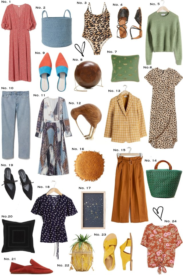 A collage of my weekly round up from various stores that include clothing, accessories, footwear, and items for the home.