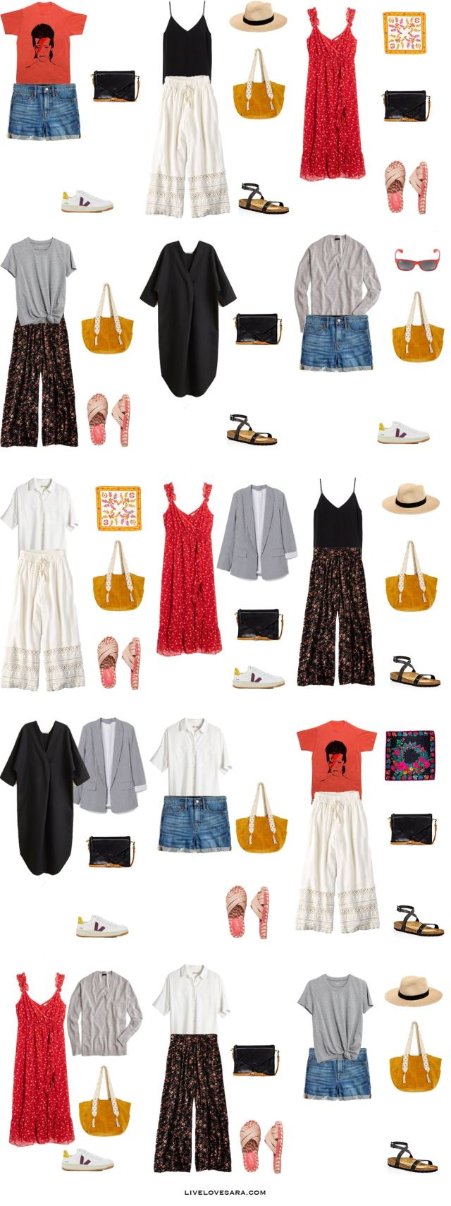 A packing list for Greece with corresponding outfit options