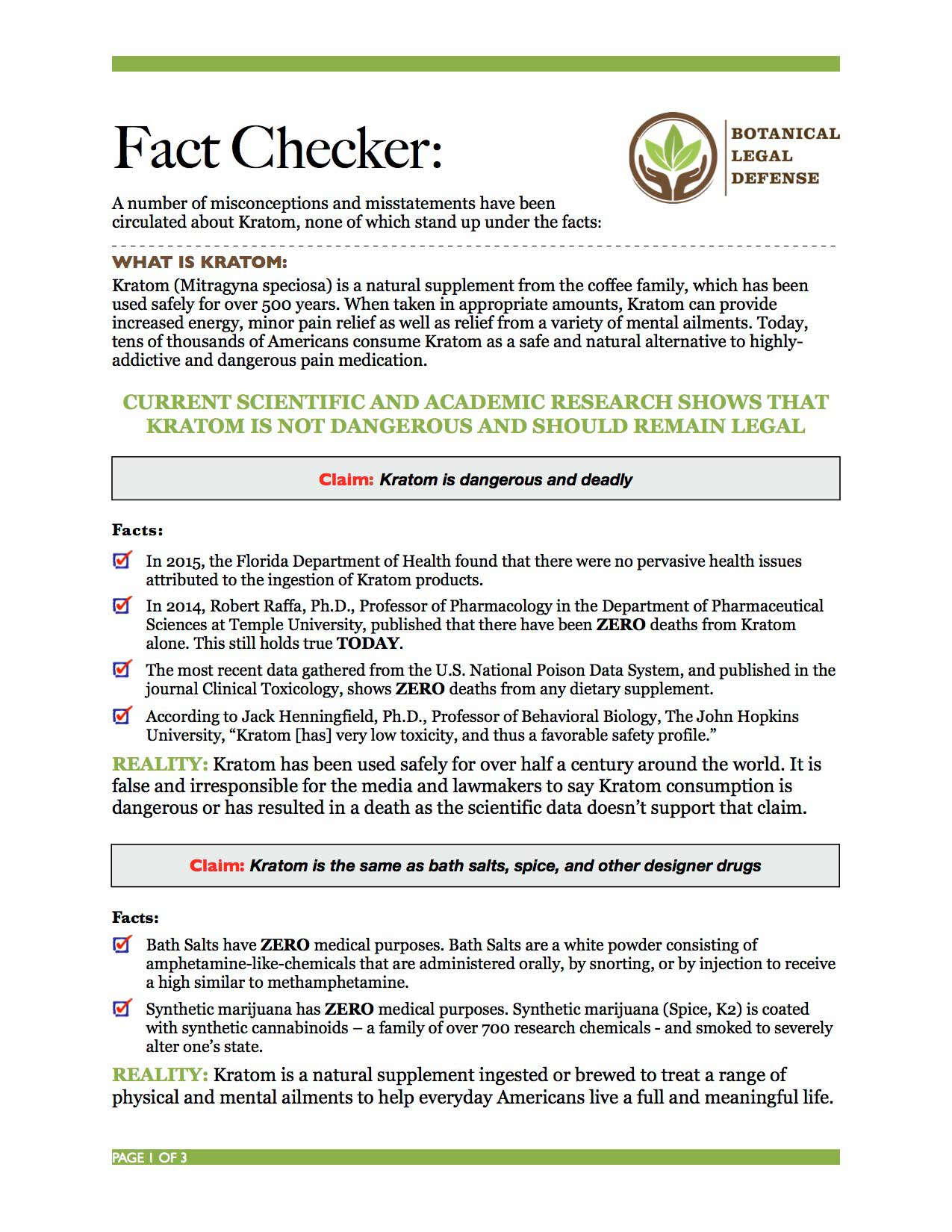 Kratom Misconceptions - Facts according to the Botanical Legal Defense Group