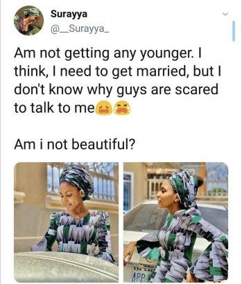 """Lady cries out on Twitter -""""I need to get married, but I don't know why guys are scared to talk to me"""""""
