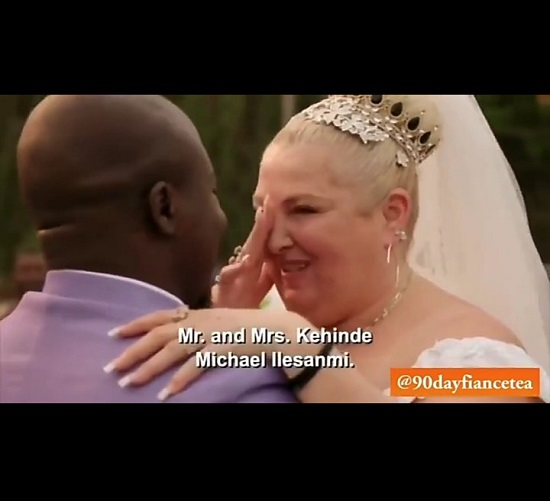"""Obey who?"" Angela of 90 Day Fiancé asks at her wedding to Michael as the Minister asked her to say ""to love and to obey you"" during her vows (video)"