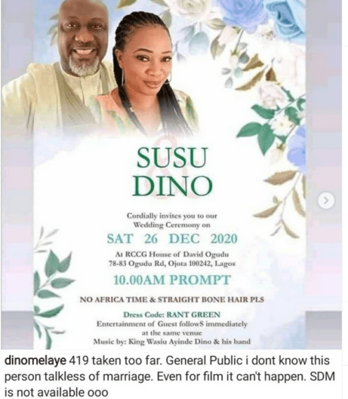 Dino Melaye Denies Woman 'Susu Dino' Who Shared A Wedding Poster Of Both Of Them Claiming They Will Be Getting Married Next Week