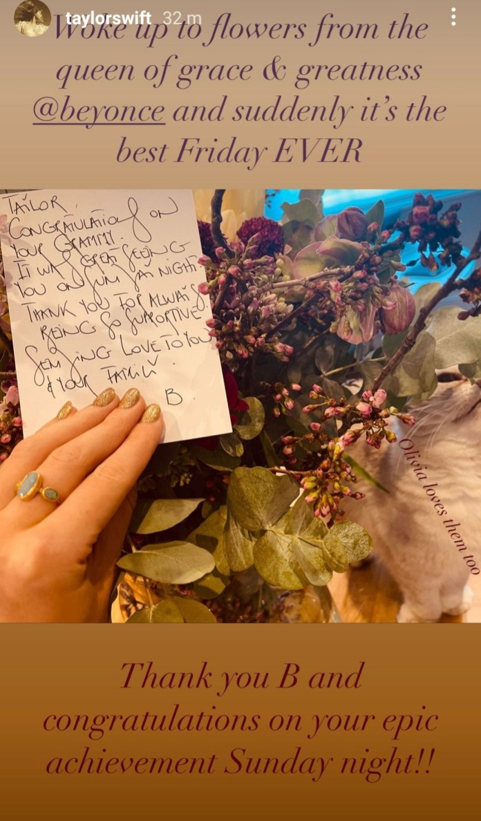 Taylor Swift shows the thoughtful gift and letter Beyoncé sent to her