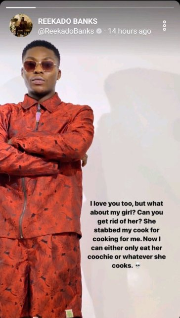 """""""My Girlfriend Stabbed My Cook For Cooking For Me"""" – Reekado Banks Reveals"""