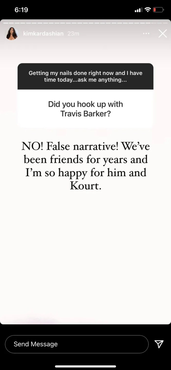 Kim Kardashian Responds to Travis Barker Affair Accusations in Rare Insta Q&A