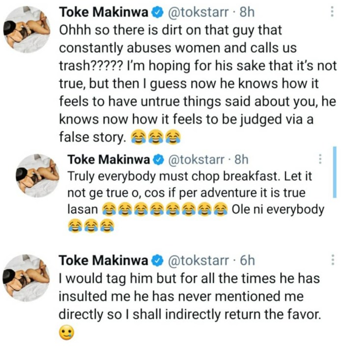 """""""Now he knows how it feels to be judged"""" Toke Makinwa reacts to scandal involving a certain guy who """"constantly abuses women and calls them trash"""""""