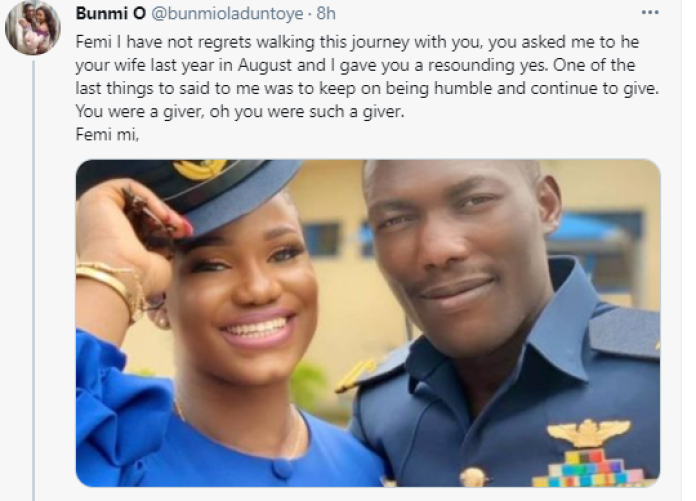 ''Pray for me''- Fiancée of pilot killed in Kaduna military crash tells Nigerians as she pays glowing tribute to him