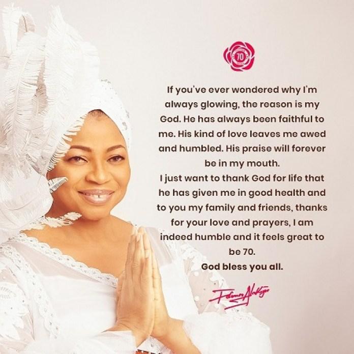 """My God is the reason I 'm always glowing"" - Billionaire businesswoman, Apostle Folorunso Alakija says as she turns 70"