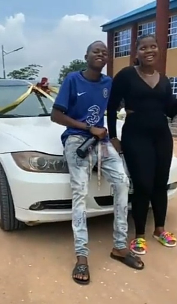 18-Year-Old Boy Buys BMW For His 25-Year-Old Girlfriend As Birthday Gift (Photos & Video)