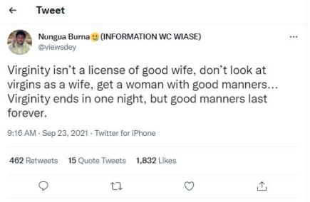"""Virginity Isn't """"License"""" For A Good Wife ,""""Virginity Ends In One Night, But Good Manners Last Forever"""" – Man Says"""