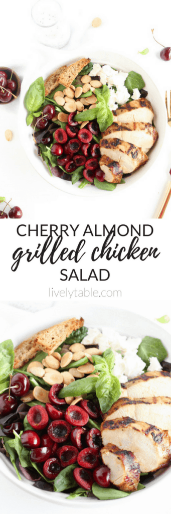 This cherry almond grilled chicken salad is a light and healthy meal you can enjoy all summer long! Less than 30 minutes from start to finish, and so delicious! (gluten-free) | via livelytable.com |summer salads| easy summer meals