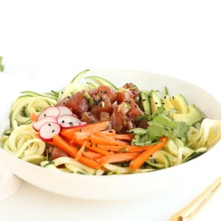 If you love poke or sushi, you'll love this Zucchini Noodle Poke Bowl! It's a fresh and delicious meal that requires no cooking and is full of fresh vegetables. (gluten-free, dairy-free)